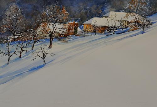 Daniel Gerhard, Bengel, Landschaft: Winter, Zeiten: Winter, Expressionismus