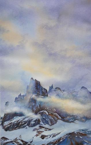 Daniel Gerhard, Morgenlicht am Spannort, Natur: Luft, Landschaft: Berge