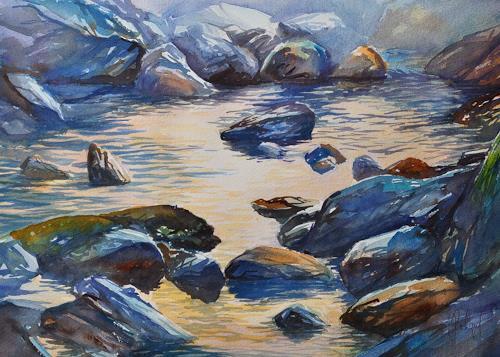 Daniel Gerhard, Im Morgenlicht, Landschaft: Berge, Natur: Wasser