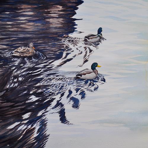 Daniel Gerhard, Flotter Dreier, Tiere: Wasser, Landschaft: See/Meer, Abstrakte Kunst, Expressionismus