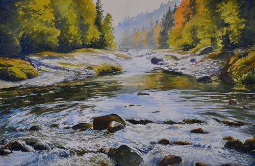 Daniel Gerhard, Herbsttag am Fluss, Landschaft: Herbst, Natur: Wasser, Expressionismus