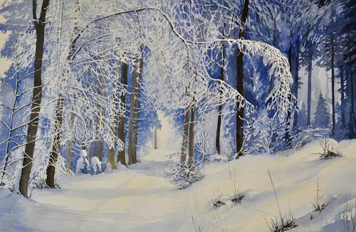 Daniel Gerhard, aus dem Tobel, Landschaft: Winter, Pflanzen: Bäume, Abstrakte Kunst