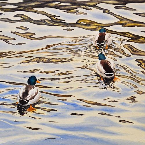 Daniel Gerhard, Mir nach!, Tiere: Wasser, Natur: Wasser, Abstrakte Kunst, Expressionismus
