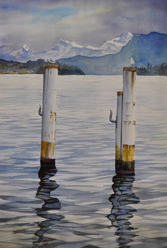 Daniel Gerhard, Gruss aus Luzern, Landschaft: See/Meer, Zeiten: Winter, Abstrakte Kunst, Expressionismus