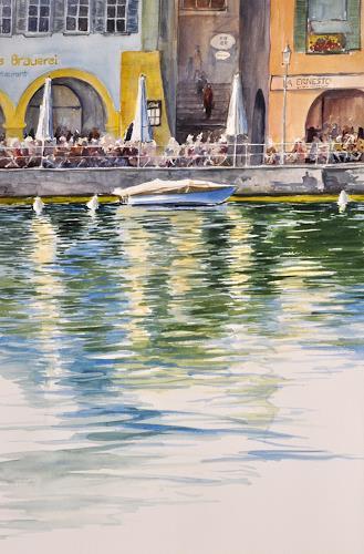 Daniel Gerhard, Drüben am Ufer, Natur: Wasser, Architektur, Abstrakte Kunst