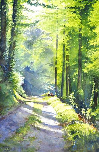 Daniel Gerhard, SONNtagmorgen im Wald, Landschaft: Sommer, Pflanzen: Bäume, Abstrakte Kunst, Expressionismus