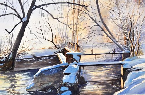 Daniel Gerhard, Beim alten Wehr, Landschaft: Winter, Natur: Wasser, Abstrakte Kunst, Expressionismus