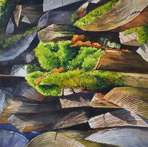 Daniel Gerhard, Promenade, Landschaft: Sommer, Natur: Wald, Abstrakte Kunst