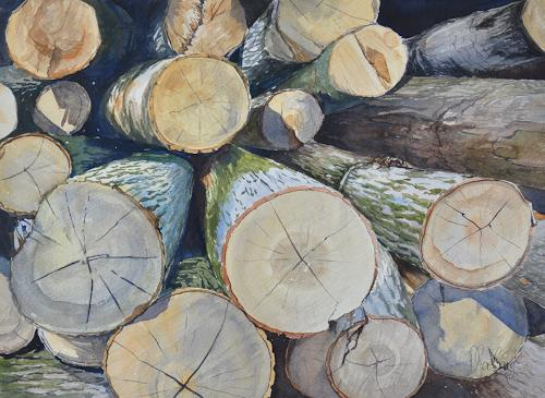 Daniel Gerhard, Rundholz, Natur: Diverse, Pflanzen: Bäume, Fotorealismus, Expressionismus