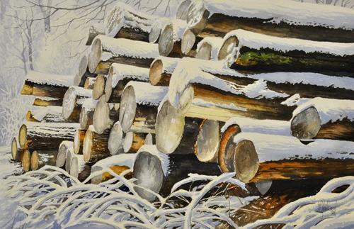 Daniel Gerhard, Rundholz XXL, Landschaft: Winter, Pflanzen: Bäume, Realismus, Expressionismus