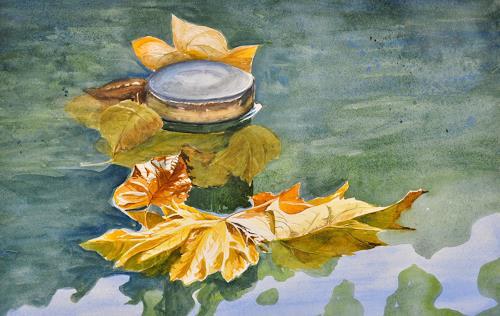Daniel Gerhard, Herbst im Brunnentrog, Natur: Wasser, Pflanzen: Bäume, Abstrakte Kunst