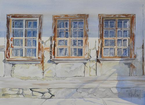 Daniel Gerhard, Die Fassade bröckelt..., Architektur, Bauten: Haus, Abstrakte Kunst