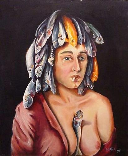Werner Fink, O/T, Akt/Erotik: Akt Frau, Menschen: Frau, Naturalismus, Abstrakter Expressionismus