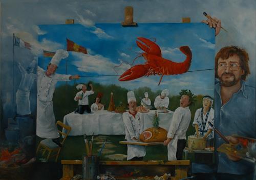 Werner Fink, Der Balanceakt des Hummers veranlasste die Frau des Meeresfrüchtebändigers sich zu entkleiden., Essen, Gesellschaft, Neue Sachlichkeit, Abstrakter Expressionismus
