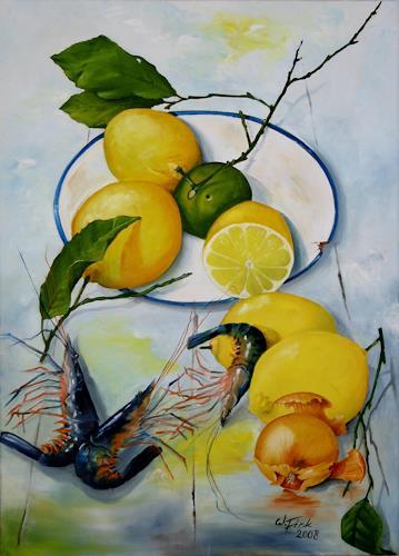 Werner Fink, Zitronen mit Garnelen, Stilleben, Essen, Naturalismus, Expressionismus