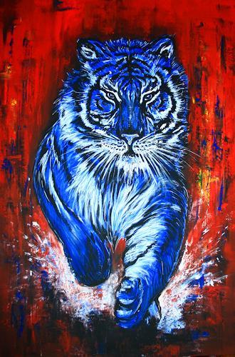 tiger blue auftragsmalerei in acryl auf leinwand von burgstallers art tiere diverses malerei. Black Bedroom Furniture Sets. Home Design Ideas