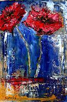 Burgstallers-Art, Summertime -  Blumen Malerei flower painting picture rot blau gemalt