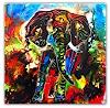 Burgstallers-Art, Elefant Wohnzimmerbild Kunst Bild Elefantenbild handgemalt abstrakt bunt Malerei 100x100, Tiere: Land, Abstraktes, Gegenwartskunst