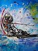 Burgstallers-Art, Deutscher Skiläufe Gemälde 80x100, Menschen: Mann, Sport, Abstrakte Kunst