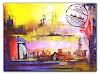 Burgstallers-Art, Dubai Städtebild skyline, Abstraktes, Landschaft, Abstrakte Kunst