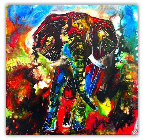 Burgstallers-Art, Elefantenbild handgemalt abstrakt, Tiere: Land, Abstraktes, Abstrakte Kunst