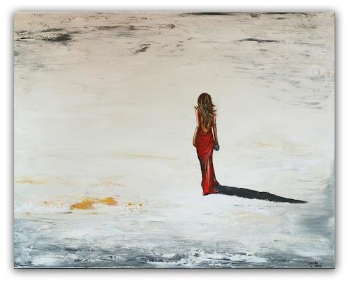Burgstallers-Art, Eleganz 80x100 Gemälde Frau Strand gemalt Wandbild, Menschen: Frau, Landschaft: Strand, Abstrakte Kunst