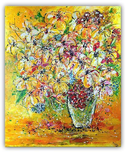Burgstallers-Art, Blumenstrauß Lilien Malerei Blumen Gemälde gemalt gelb Kunst Bilder Original Unikat 120x100, Pflanzen: Blumen, Abstraktes, Abstrakte Kunst