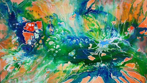 Gartenteich Abstrakte Malerei Moderne Kunst Grun Blau