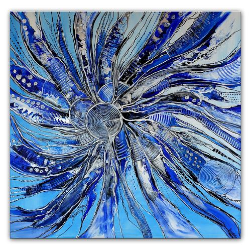 Burgstallers-Art, Im Sog, 100x100, abstraktes, Acrylbild, kaufen, blau, grau, abstrakte, malerei, gemälde,, Abstraktes, Abstrakte Kunst