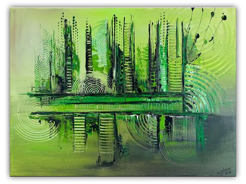 Burgstallers-Art, Im Urwald, 60x80, abstraktes, grünes, Gemälde, handgemalt, Acryl, Malerei, abstrakt,, Abstraktes, Abstrakte Kunst