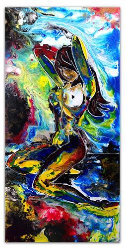 Burgstallers-Art, Im Wasserfall, Nackt Frau, Women, Nude, waterfall, painting, 50x100, malerei, gemälde,  handgemalt,, Menschen: Frau, Abstraktes, Abstrakte Kunst