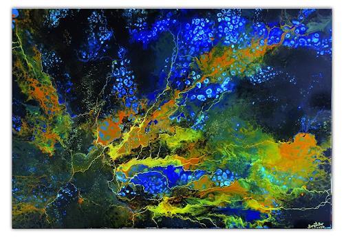 Burgstallers-Art, Korallen 2 abstrakte Malerei 120x80cm blau gelb Kunst Bild Original GEmälde, Abstraktes, Fantasie, Abstrakte Kunst, Expressionismus