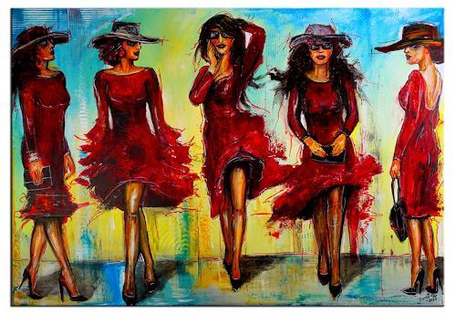Burgstallers-Art, Ladies in Red Moderne Malerei Frauen Rote Kleider Acrylbild Original Gemälde Unikat 120x80, Abstraktes, Menschen: Frau, Abstrakte Kunst
