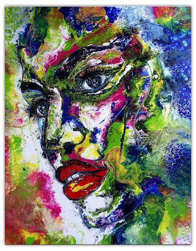 Burgstallers-Art, Wandbild Amazone Moderne Malerei Gesicht abstrakt gemalt Acryl Gemälde Original Kunstbild 80x100, Abstraktes, Menschen: Gesichter, Moderne, Abstrakter Expressionismus