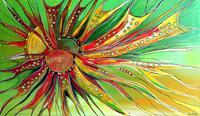 Burgstallers-Art, Esprit Auftragsmalerei abstraktes Kunstbild gelb grün rot