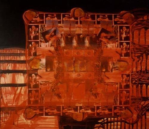Frank Dimitri Etienne, Rotes Bild, Glauben, Abstrakte Kunst