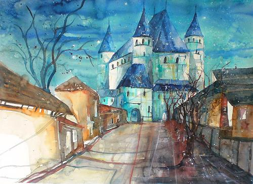 Conny, Aquarell Schloss Thun, Märchen, Diverse Bauten, Gegenwartskunst, Expressionismus