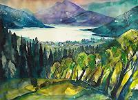 Conny-Landschaft-See-Meer-Landschaft-Berge-Gegenwartskunst--Gegenwartskunst-