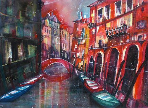 Conny, Aquarell Venedig Rio di Santa Maddalena, Gefühle: Geborgenheit, Diverse Bauten, Gegenwartskunst, Expressionismus