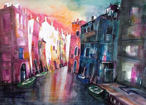 Conny, Aquarell Venedig Rio di San Pantalon, Architektur, Diverse Bauten, Gegenwartskunst
