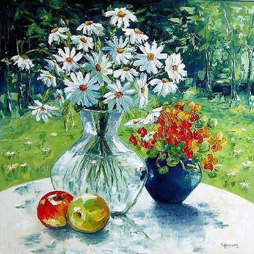 Claudia Hansen, Stillleben mit Margeriten, Pflanzen: Blumen, Stilleben, Postimpressionismus, Expressionismus
