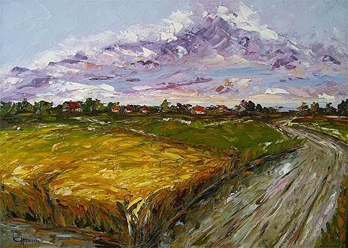 Claudia Hansen, Kornfeld II, Landschaft: Sommer, Landschaft: Ebene, Postimpressionismus, Expressionismus