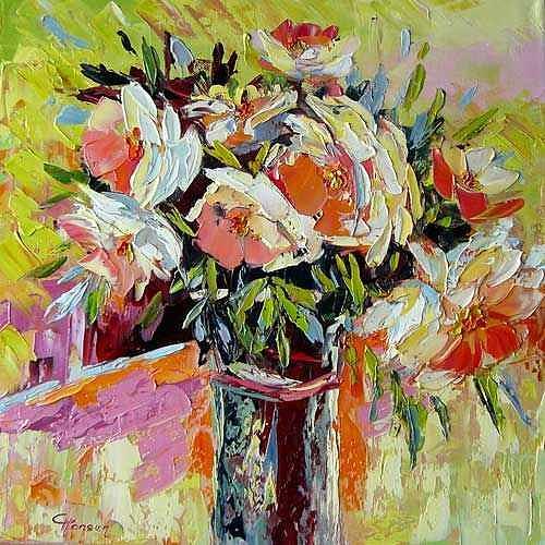 Claudia Hansen, JOY - Rosen, Pflanzen: Blumen, Stilleben, Postimpressionismus, Expressionismus