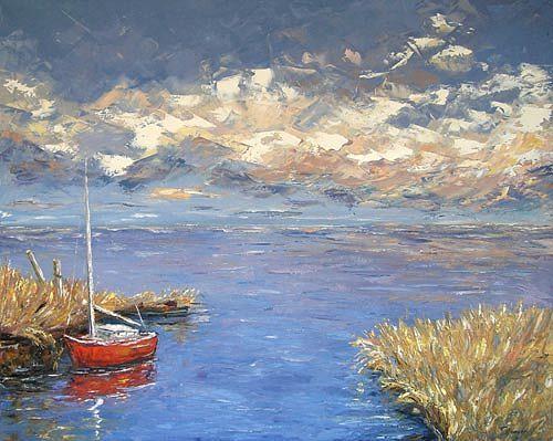 Claudia Hansen, Rotes Boot, Landschaft: See/Meer, Natur: Wasser, Postimpressionismus, Expressionismus