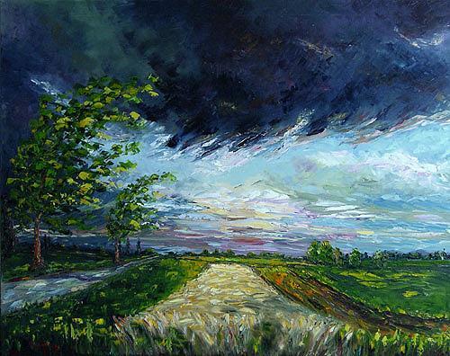 Claudia Hansen, Gewitterwolken, Landschaft: Sommer, Natur: Luft, Postimpressionismus, Expressionismus
