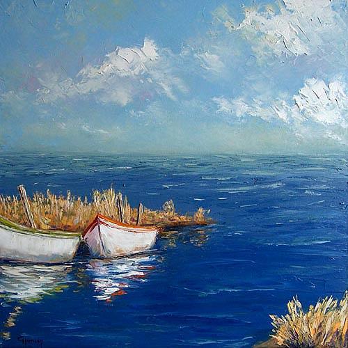Claudia Hansen, Fischerboote am Haff, Landschaft: See/Meer, Natur: Wasser, Realismus, Expressionismus
