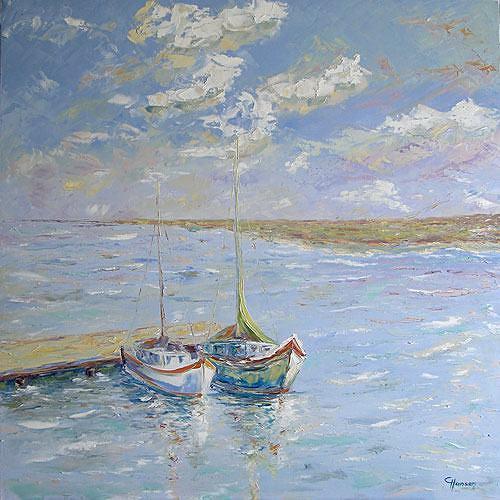 Claudia Hansen, Segelboote am Bootssteg, Landschaft: See/Meer, Natur: Wasser, Postimpressionismus, Expressionismus