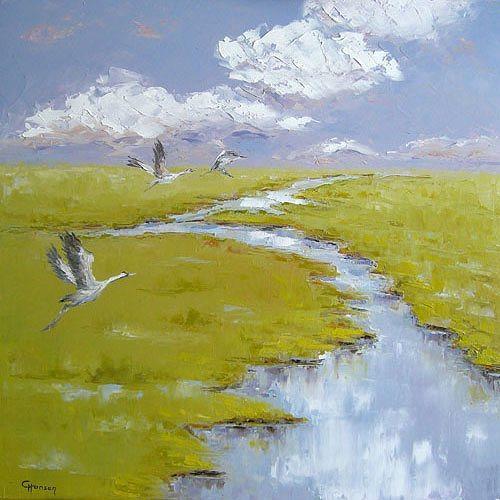 Claudia Hansen, Graue Kraniche im Moor, Landschaft: Frühling, Natur: Wasser, Expressionismus