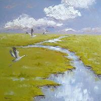 C. Hansen, Graue Kraniche im Moor