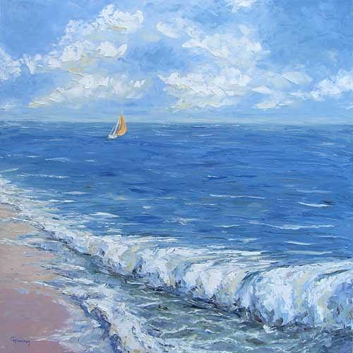 Claudia Hansen, Meeresbrandung an der Nordsee, Landschaft: See/Meer, Landschaft: Strand, Postimpressionismus